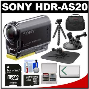Sony Action Cam HDR-AS20 Wi-Fi 1080p HD Video Camera Camcorder with 32GB Card + Suction Cup & Dashboard Mounts + Battery + Case + Flex Tripod + Kit