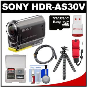 Sony Action Cam HDR-AS30V 1080p Wi-Fi HD Video Camera Camcorder (Black) with 16GB Card + Strap + Flex Tripod + HDMI Cable + Accessory Kit