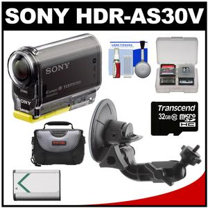 Sony Action Cam HDR-AS30V 1080p Wi-Fi HD Video Camera Camcorder (Black) with Suction Cup Mount + 32GB Card + Battery + Case + Accessory Kit