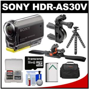 Sony Action Cam HDR-AS30V 1080p Wi-Fi HD Video Camera Camcorder (Black) with Handlebar & Helmet Mounts + 32GB Card + Battery + Case + Flex Tripod + Accessory Kit