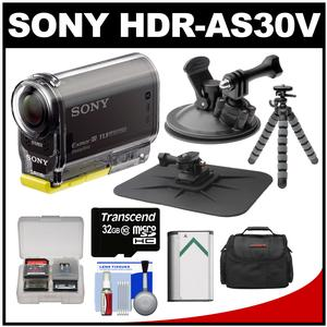 Sony Action Cam HDR-AS30V 1080p Wi-Fi HD Video Camera Camcorder (Black) with Suction Cup & Dashboard Mounts + 32GB Card + Battery + Case + Tripod + Accessory Kit