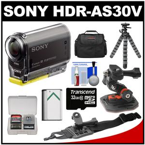 Sony Action Cam HDR-AS30V 1080p Wi-Fi HD Video Camera Camcorder (Black) with Helmet & Arm Mounts + 32GB Card + Battery + Case + Flex Tripod + Accessory Kit