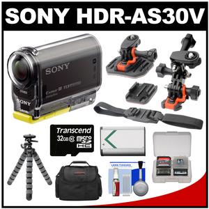 Sony Action Cam HDR-AS30V 1080p Wi-Fi HD Video Camera Camcorder (Black) with Helmet Mounts + 32GB Card + Battery + Case + Flex Tripod + Accessory Kit