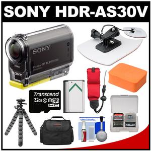 Sony Action Cam HDR-AS30V 1080p Wi-Fi HD Video Camera Camcorder (Black) with Surf Mount + 32GB Card + Battery + Case + Tripod + Floating Strap + Accessory Kit