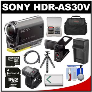 Sony Action Cam HDR-AS30V 1080p Wi-Fi HD Video Camera Camcorder (Black) + RM-LVR1 Live View Remote + LCD Cradle + 32GB Card + Battery/Charger + Case + Tripod Kit