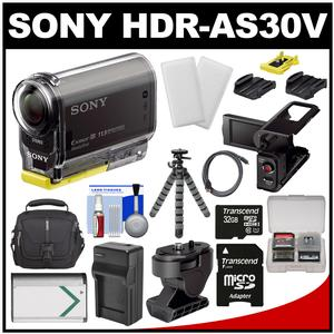 Sony Action Cam HDR-AS30V 1080p Wi-Fi HD Video Camera Camcorder (Black) with 32GB Card + LCD Cradle + Tilt & Adhesive Mounts + Battery + Case + Tripod + Kit