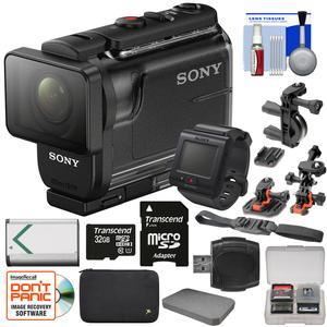 Sony Action Cam HDR-AS50R Wi-Fi HD Video Camera Camcorder & Live View Remote with 32GB Card + Battery + Custom Case + 2 Helmet & Handlebar Bike Mounts + Kit