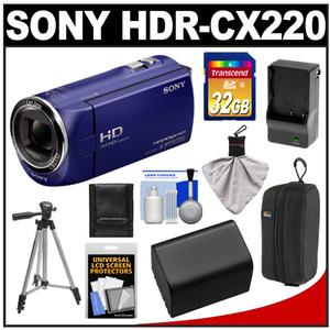 Sony Handycam HDR-CX220 1080p HD Video Camera Camcorder (Blue) with 32GB Card + Battery + Charger + Case + Tripod + Accessory Kit at Sears.com