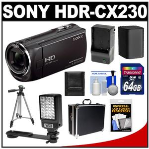 Sony Handycam HDR-CX230 8GB 1080p HD Camcorder  + 64GB Card + Battery + Charger + Hard Case + Video Light + Tripod + Acc Kit at Sears.com