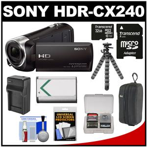 Sony Handycam HDR-CX240 1080p Full HD Video Camera Camcorder (Black) with 32GB Card + Battery + Charger + Case + Flex Tripod + Accessory Kit