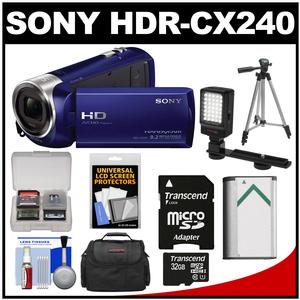 Sony Handycam HDR-CX240 1080p Full HD Video Camera Camcorder (Blue) with 32GB Card + Battery + Case + Video Light + Tripod + Kit