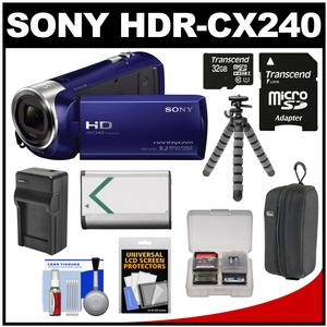 Sony Handycam HDR-CX240 1080p Full HD Video Camera Camcorder (Blue) with 32GB Card + Battery + Charger + Case + Flex Tripod + Accessory Kit