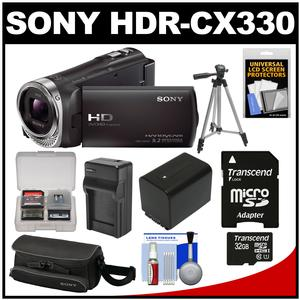 Sony Handycam HDR-CX330 1080p Full HD Video Camera Camcorder (Black) with 32GB Card + Battery + Charger + Case + Tripod Kit