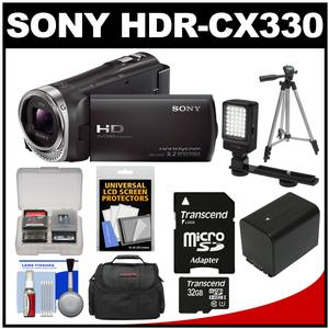 Sony Handycam HDR-CX330 1080p Full HD Video Camera Camcorder (Black) with 32GB Card + Battery + Case + LED Video Light + Tripod Kit