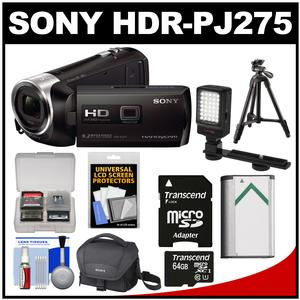 Sony Handycam HDR-PJ275 8GB 1080p Full HD Video Camera Camcorder with Projector (Black) with 64GB Card + Battery + Case + LED Light + Tripod + Accessory Kit