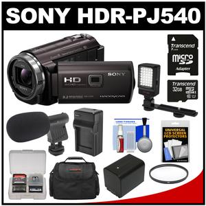 Sony Handycam HDR-PJ540 32GB 1080p HD Video Camera Camcorder with Projector (Black) with 32GB Card + Battery & Charger + Case + Microphone + LED Light + Kit