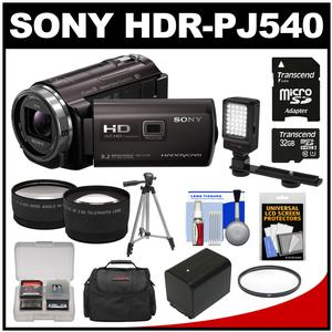 Sony Handycam HDR-PJ540 32GB 1080p HD Video Camera Camcorder with Projector (Black) with 32GB Card + Battery + Case + Video Light + Tripod + Tele/Wide Lens Kit