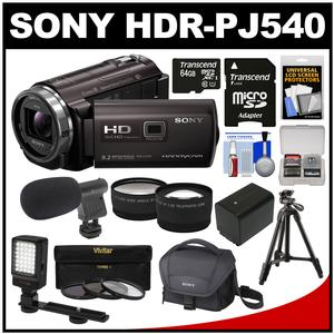 Sony Handycam HDR-PJ540 32GB 1080p HD Video Camera Camcorder with Projector (Black) with 64GB Card + Battery + Case + LED Light + Microphone + Tripod + Tele/Wide Lens Kit