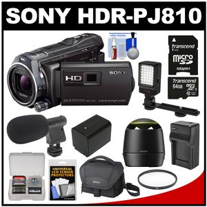 Sony Handycam HDR-PJ810 32GB 1080p HD Video Camera Camcorder with Projector (Black) with 64GB Card + Battery + Charger + Case + Mic + Speaker + Video Light + Kit