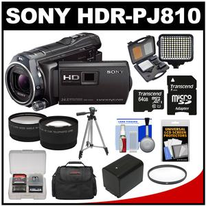Sony Handycam HDR-PJ810 32GB 1080p HD Video Camera Camcorder with Projector (Black) with 64GB Card + Battery + Case + LED Light + Tripod + Tele/Wide Lens Kit