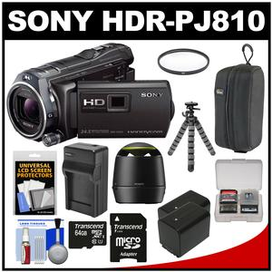 Sony Handycam HDR-PJ810 32GB 1080p HD Video Camera Camcorder with Projector (Black) with 64GB Card + Speaker + 2 Batteries & Charger + Case + Tripod + Accessory Kit