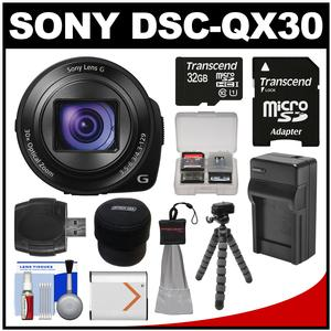 Sony Cyber-Shot DSC-QX30 Smartphone Attachable Lens-Style Digital Camera with 32GB Card + Case + Battery & Charger + Flex Tripod + Kit