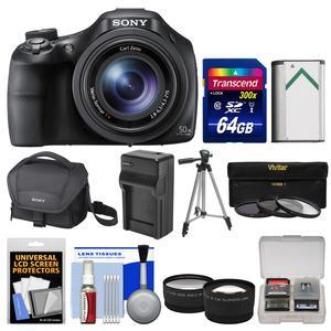 Sony Cyber-Shot DSC-HX400V Wi-Fi Digital Camera with 64GB Card + Case + Battery & Charger + Tripod + Tele\/Wide Lenses + Filters Kit