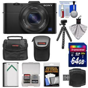 Sony Cyber-Shot DSC-RX100 II Wi-Fi Digital Camera (Black) with 64GB Card + 2 Cases + Battery + Flex Tripod + Accessory Kit