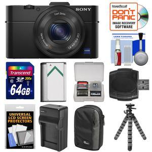 Sony Cyber-Shot DSC-RX100 II Wi-Fi Digital Camera (Black) with 64GB Card + Battery + Charger + Case + Flex Tripod + Accessory Kit