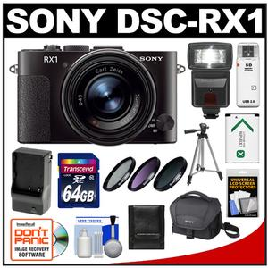 Sony Cyber-Shot DSC-RX1 Full-Frame Digital Camera (Black) with 64GB Card + Battery & Charger + Case + Flash + 3 Filters + Tripod + Accessory Kit