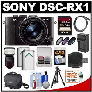 Sony Cyber-Shot DSC-RX1 Full-Frame Digital Camera (Black) with Sony HVL-F60M Flash/Video Light + 64GB Card + Case + 2 Batteries + Tripod Kit