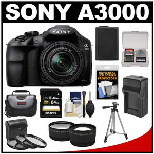 Sony Alpha A3000 Digital Camera & 18-55mm Lens (Black) with 64GB Card + Battery + Charger + Case + Tripod + Tele/Wide Lenses + Accessory Kit