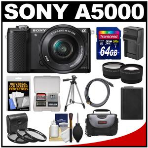 Sony Alpha A5000 Wi-Fi Digital Camera & 16-50mm Lens (Black) with 64GB Card + Case + Battery & Charger + Tripod + HDMI Cable + Tele/Wide Lens Kit