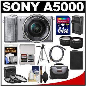 Sony Alpha A5000 Wi-Fi Digital Camera & 16-50mm Lens (Silver) with 64GB Card + Case + Battery & Charger + Tripod + HDMI Cable + Tele/Wide Lens Kit