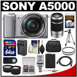 Sony Alpha A5000 Wi-Fi Digital Camera & 16-50mm Lens (Silver) with 55-210mm Lens + 64GB Card + Case + Flash + Battery/Charger + Tripod Kit