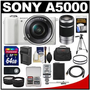 Sony Alpha A5000 Wi-Fi Digital Camera & 16-50mm Lens (White) with 55-210mm Lens + 64GB Card + Case + Flash + Battery/Charger + Tripod Kit