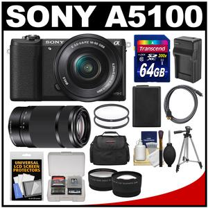 Sony Alpha A5100 Wi-Fi Digital Camera & 16-50mm Lens (Black) with 55-210mm Lens + 64GB Card + Case + Battery/Charger + Tripod + Tele/Wide Lens Kit