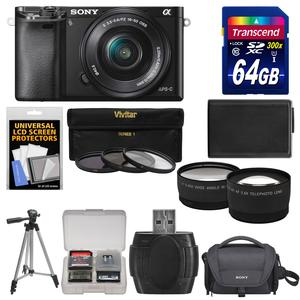 Sony Alpha A6000 Wi-Fi Digital Camera & 16-50mm Lens (Black) with 64GB Card + Case + Battery + Tripod + Tele\/Wide Lenses + 3 UV\/CPL\/ND8 Filter Kit