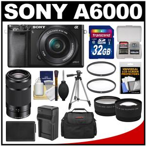 Sony Alpha A6000 Wi-Fi Digital Camera & 16-50mm Lens (Black) with 55-210mm Lens + 32GB Card + Case + Battery/Charger + Tripod + Tele/Wide Lens Kit
