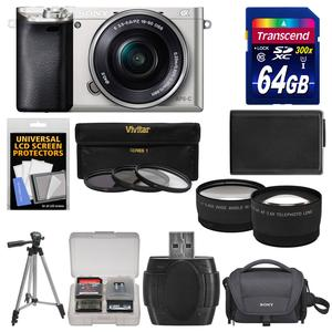 Sony Alpha A6000 Wi-Fi Digital Camera & 16-50mm Lens (Silver) with 64GB Card + Case + Battery + Tripod + Tele\/Wide Lenses + 3 UV\/CPL\/ND8 Filter Kit