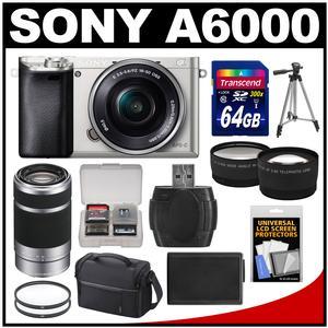 Sony Alpha A6000 Wi-Fi Digital Camera & 16-50mm Lens (Silver) with 55-210mm Lens + 64GB Card + Case + Battery + Tripod + Tele/Wide Lens Kit