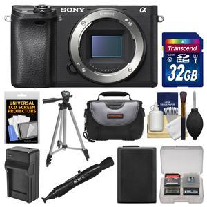 Sony Alpha A6300 4K Wi-Fi Digital Camera Body with 32GB Card + Case + Battery & Charger + Tripod + Kit
