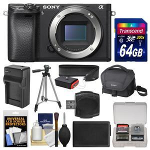 Sony Alpha A6300 4K Wi-Fi Digital Camera Body with 64GB Card + Case + Battery & Charger + Tripod + Strap + Kit