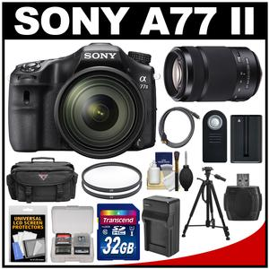 Sony Alpha A77 II Wi-Fi Digital SLR Camera & 16-50mm Lens + 55-300mm Lens + 32GB Card + Battery + Charger + Case + Tripod + Filters + Kit