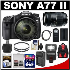 Sony Alpha A77 II Wi-Fi Digital SLR Camera & 16-50mm Lens with 70-300mm Lens + 64GB Card + Battery + Charger + Backpack + Flash + Kit