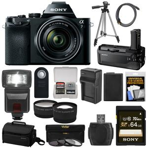 Sony Alpha A7 Digital Camera & 28-70mm FE OSS Lens (Black) with VG-C1EM Grip + 64GB Card + Case + Battery + Tripod + Flash + 2 Lenses Kit