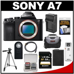 Sony Alpha A7 Digital Camera Body (Black) with 64GB Card + Battery & Charger + Case + Tripod + Kit