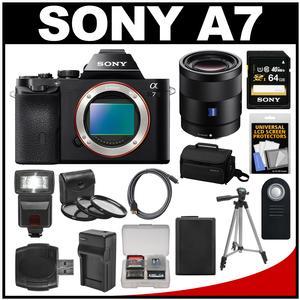 Sony Alpha A7 Digital Camera Body (Black) with Sonnar T* FE 55mm f/1.8 ZA Lens + 64GB Card + Case + Flash + Battery + Tripod Kit