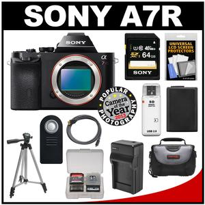 Sony Alpha A7R Digital Camera Body (Black) with 64GB Card + Battery & Charger + Case + Tripod + Kit