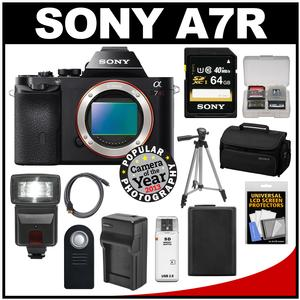 Sony Alpha A7R Digital Camera Body (Black) with 64GB Card + Battery & Charger + Case + Tripod + Flash Kit